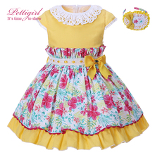 Pettigirl Easter Yellow Flower Girls Dresses Summer Kids Dress With Headwear Lace Collar Costume For Children Boutique Clothes