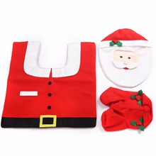 2016 Holiday Decorations Lovely Furnishings Santa Toilet Seat Cover and Foot Cushions Water Tank Covers and Paper Towels box