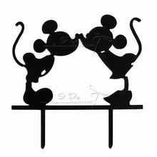 Free Shipping Acrylic Mickey And Minnie Wedding Cake Topper/wedding Cake Stand/wedding Decoration/cake Decorating Supplies(China)