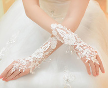 Lace white fingerless fashion flower long women princess girl lady bridesmaid sexy dancing performance party gloves freeshipping(China)