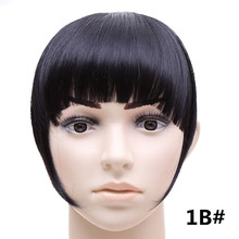 #1B Natural Black Color Synthetic Hair Fake Bangs Side symmetry Fringe Bangs 2Clips Clip In Hair Extensions Fashion Hairpieces