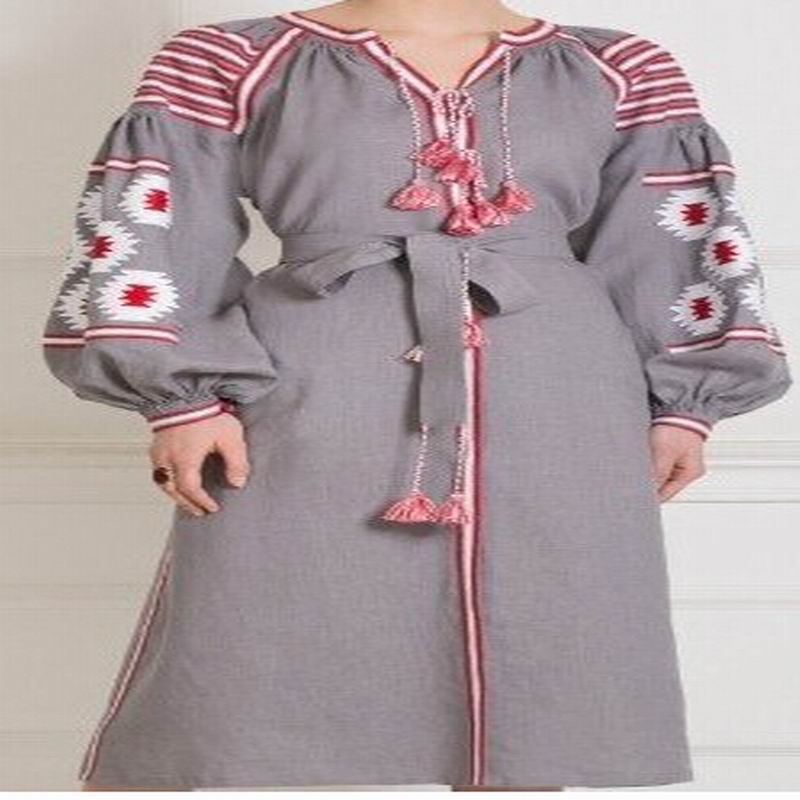 To quality Plus size Beautiful embroidered quality cotton bohemian folk dress Mori Girl 100% Cotton Linen vestidos Tassel Belt(China)