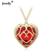 Ocean The Legend of Zelda blue red Heart Container necklace hollow out 4cm pendant Necklace keychain women new fashion