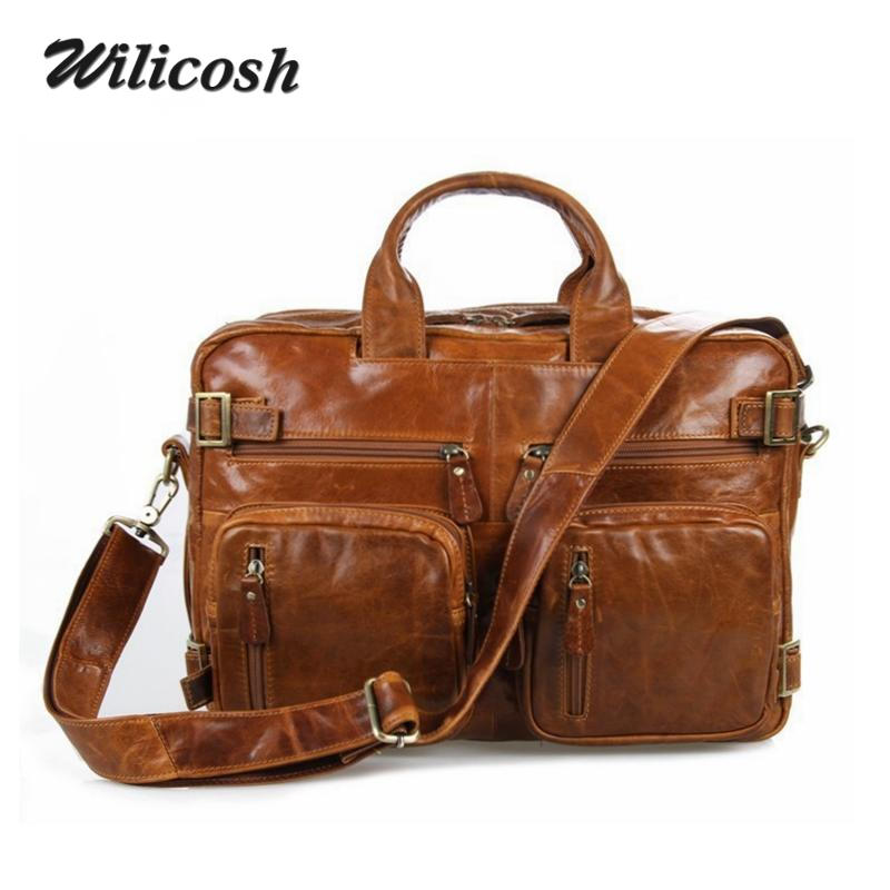 2016 High Quality 100% First Layer Genuine Leather Mens Shoulder Messenger Bags Busines Multifunction Mens Travel Bags DB4744<br><br>Aliexpress