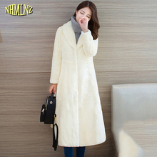 Winter Fur coat High quality Fashion Solid color Long Outerwear Comfortable Long sleeve Elegant female Imitation fur coat WK244(China)