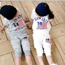 gray white EAST 1978 American flag printed baby boy clothing set short sleeve T-shirt hoodies +pant kids boy girl sport suit