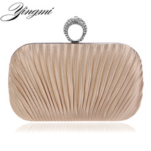 New arrival stain rushed finger ring diamonds luxury women bags clutch evening bag crystal wedding bridal/bridesmaid purse bag