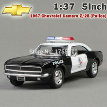 Brand New 1:37 Scale 1967 Chevrolet Camaro Z-28 Police Version Diecast Metal Pull Back Car Model Toy As Gift For Boy