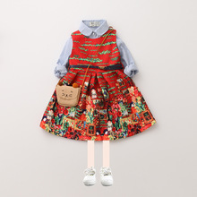 Girl Fall Dress 2017 Girl Cotton Print Sashes Dress European Fashion Kids Princess Dresses Cute Childrens Autumn Clothes