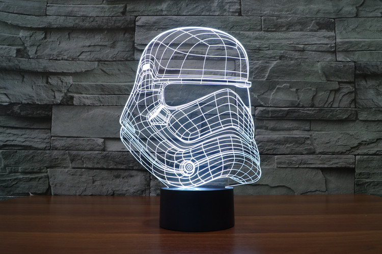 Creative 3D LED 7 color Star Wars Stormtrooper changing visual illusion light bedroom light action figures PMMA table lamp<br><br>Aliexpress