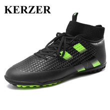 KERZER Mens Soccer Shoes Turf Cleats Black/Green/Orange Soccer Shoes For Artificial Turf Boots Men Indoor Shoes Football