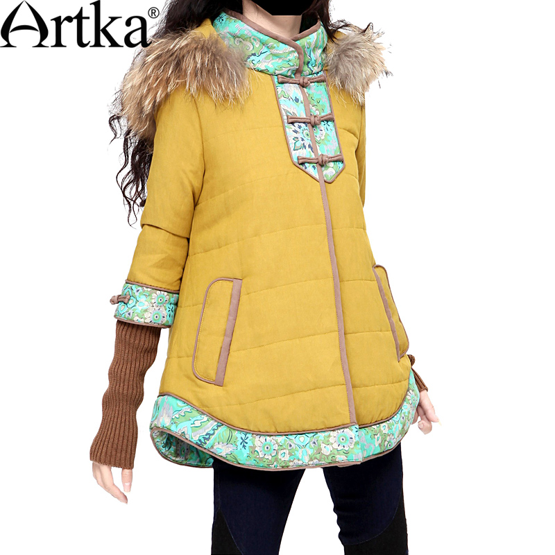 Artka Womens Winter Raccoon Fur 3/4 Sleeve Yellow Cotton Wadded Jacket Warm Padded Coat MA10633DОдежда и ак�е��уары<br><br><br>Aliexpress