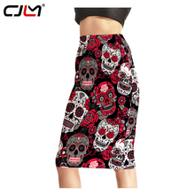 CJLM Skirts Womens 2017 Harajuku Autumn 3d Print Rose Skull Evil Funny High Waist Wrap Long Pencil Skirt Women Clothing Bottoms(China)