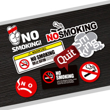 Quit No Smoking Warning Mark Funny Logo Reflective PVC Car Sticker Auto Car-Styling Waterproof Decal 3M Window Interior Sign