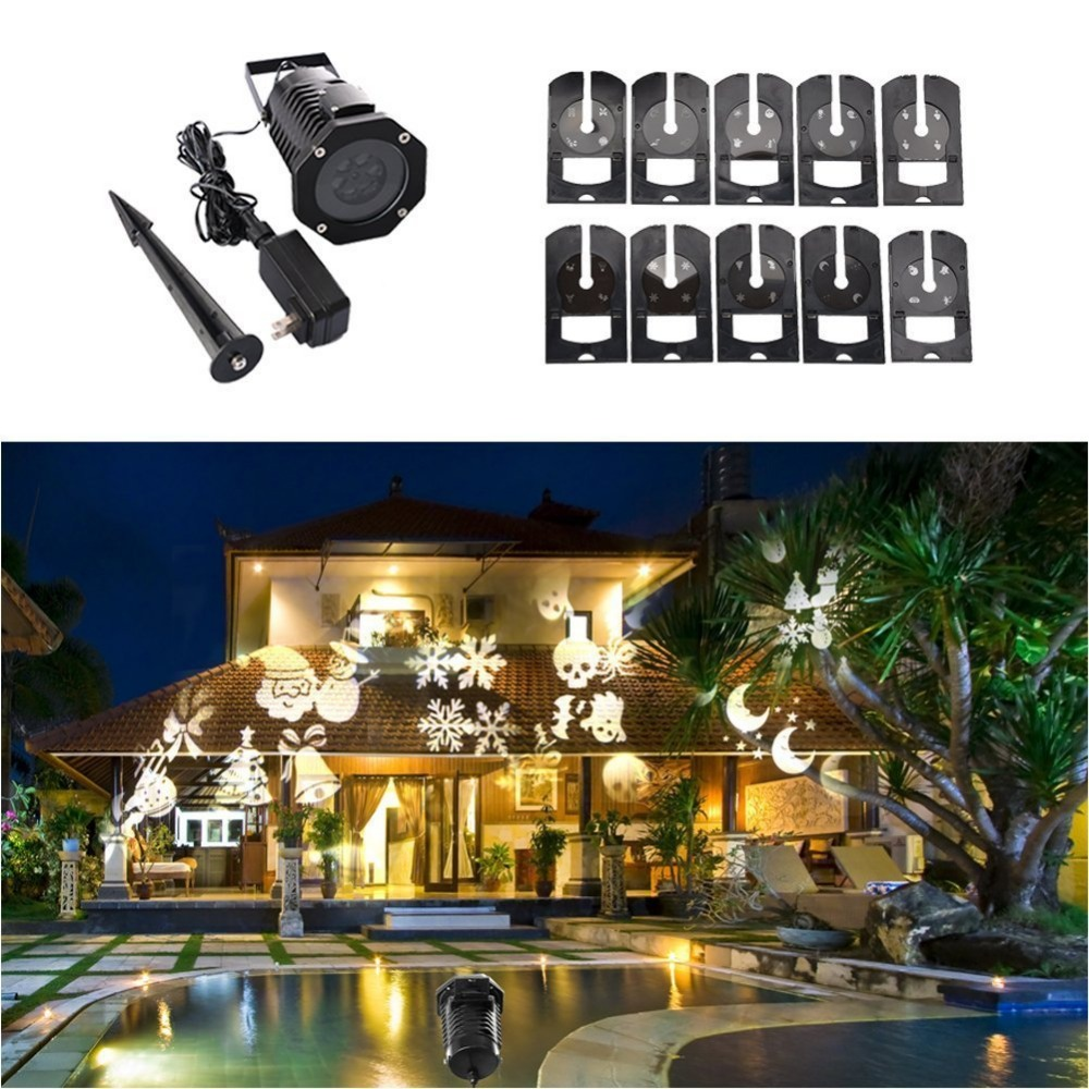 Rotating Projection Snowflake Spotlight, White with 10PCS Slides Landscapke Led Light Show Projector Lampl,Halloween Decoration<br><br>Aliexpress
