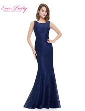 Elegant Evening Dress Ever Pretty New Arrival 2017 HE08825 Women Elegant Round Neck Plus Size Long Formal Evening Dress Lace(China)
