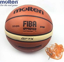 Official Standard Size7 Molten GF7X PU Leather Indoor Outdoor Leather Basketball Ball Training Equipment With Free Pin + Net bag