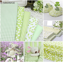 Twill 5 pcs Green Plaid Stripe Floral 100% Organic Cotton Fabric For Sewing Patchwork Wallet Purse Doll Bedding Fabric 40cm*50cm(China)