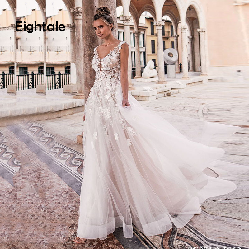 Eightale Boho Wedding Dresses Lace A-Line Beach Wedding Gowns Appliques Tulle Buttons Princess Sexy Bride Dress Free Shipping
