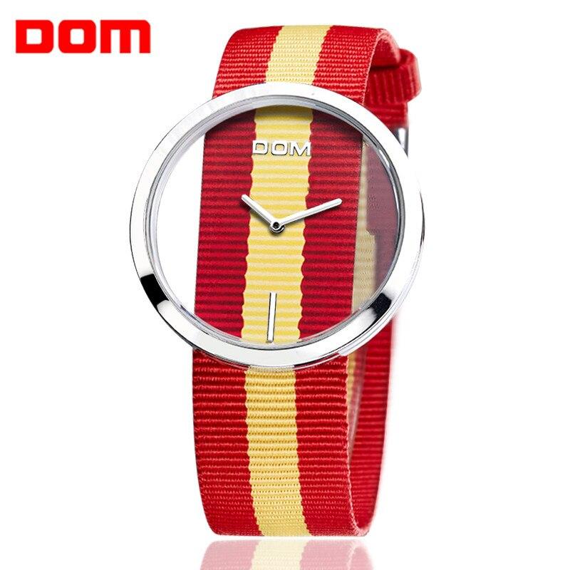 DOM 1Pc Sport Quartz Wristwatch Watches Nylon Casual Waterproof Strap Men Women Ladies 2Flag Color Relogio Masculino<br>