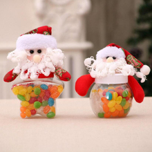 New Santa Claus Elk Snowman Candy Jars Container Christmas Ornaments Kids Gifts Holiday Party Table Decor(China)