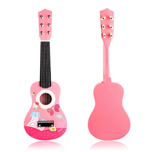 Early education puzzle toys quadruple simulation children guitar toy pink wooden toy guitar
