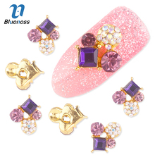 Nail Art Decorations 10 Pcs 3D Gold Alloy Diy Glitter Geometric Charm Purple AB Rhinestone Tools Used On Nails Polish Gel UV
