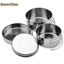 QueenTime Outdoor Cooking Pot Set 4pcs Stainless Steel Food Holder Multifunction Cookware Picnic Food Container Kitchen Tools(China)