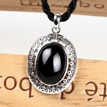 EDI 925 Silver Pendants with Gemstone Diamond Jewelry Obsidian Black Chalcedony Pendant for Necklace for women(China)