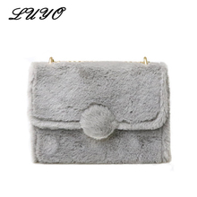 Luyo Winter Fur Small Girl Messenger Shoulder Bags Chain Crossbody Bags For Women Female Designer Handbags Cute Cheap Quilted(China)