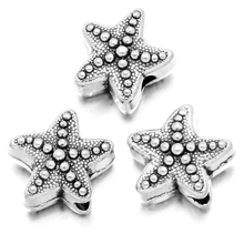 150pcs/lot Antique Silver Zinc Alloy Sea Star Small Hole Loose Beads Charms Pendants For Jewely Making DIY 11*10*6mm 113800