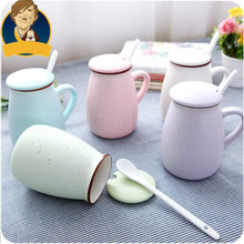 Brief milk mugs mark cup cute coffee mugs with cover and spoon ceramic cup wholesale cartoon bone china eco-friendly kitchen
