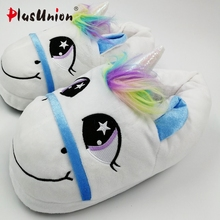 plusunion unicorn slippers indoor women furry fur winter flip flops shoes rihanna house home with platform faux plush s162