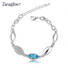 Beagloer Brand 2016 New Style Romantic Aegean Love Bracelet Blue Austrian Crystal Chain Bracelet For Women CBR0016-B