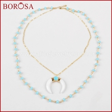 BOROSA Gold Color White Stone Crescent Horn Double Layer Necklace Paved Howlite Stone with Blue Beads Chain Necklace G0955