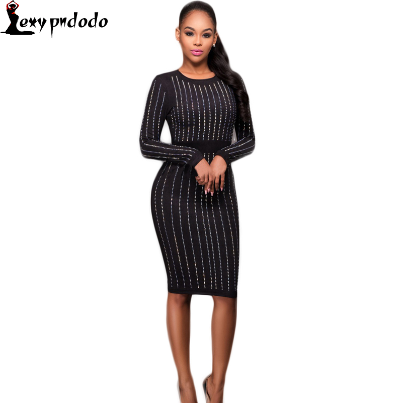 New 2016 Autumn/Winter Womens Club Sequin Dress Long Sleeve O-Neck Sexy Party Dresses Plus Size Woman Clothing vestidos dashiki
