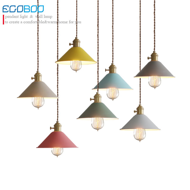 Macaron lampshade 7 colors, luminaire pendant lights modern pendant lamp for restaurant coffe bar shop lighting fixture E27