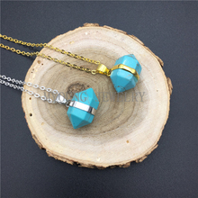 MY0916 Blue Howlite Pendant Double Terminated Pencil Point Turquoises Necklace With Gold Or Silver Electroplated Chain