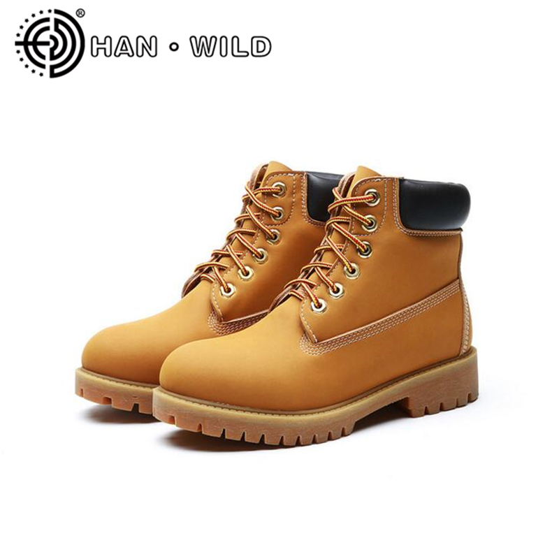 100% Genuine Leather Women Martin Boots Yellow Tooling Boots Couples Outdoor Shoes Women Lace Up Ankle Boots Motorcycle Boots<br>