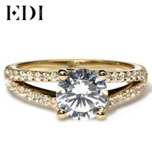 EDI Round Brilliant Cut  1CT Center 10K Yellow Solid  Gold Ring Split Shank Anniversary Ring  Simulated Diamond Engagement Ring