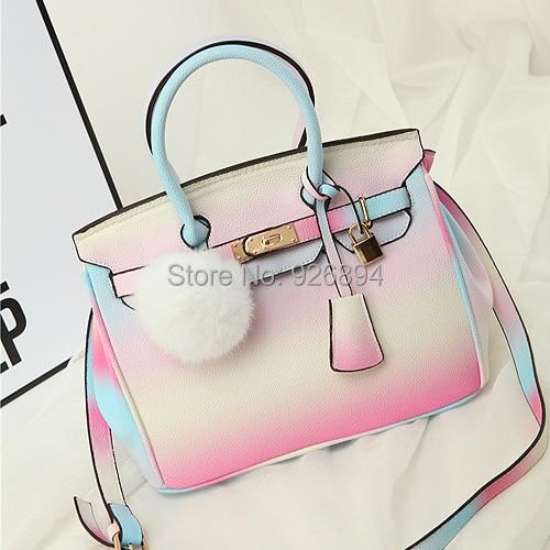 New design fashion personality candy color gradient platinum bat bag ladies handbag shoulder bag messenger bag free shipping<br>