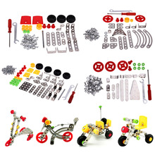 3D Alloy DIY Toys for Children Kids Model Cars Motorcycle Tricycle Assembling Educational Toy Kids Plastic Blocks(China)