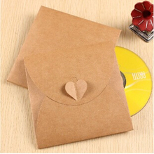 4pcs/lot 130*130mm/Vintage Heart Kraft Paper CD Optical disc Paper Bag/Filing Products/DVD Bag/DIY Green Card bag/envelope GT120(China)