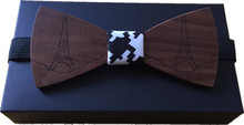 Original New design Eiffel Tower paint Wood bowtie butterfly bowknot mens tie wooden bow ties free shipping