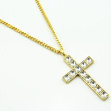 HIP Hop Cross Crystal Necklace For Men Bling Cross Pendant Necklaces Christian Jewelry Dropshipping(China)
