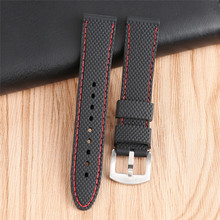 Silicon Watch Band Strap 18mm 20mm 22mm 24mm Rugged Skin Red White Stitch Wriststrap Soft Watchband Rubber Relojes Hombre 2017(China)