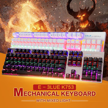 E - 3LUE K753 Gaming Mechanical Keyboard 104 Keys Anti-ghosting Luminous Backlit LED Backlight Wired Keyboard for PC Tablet