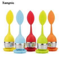 5 Color Sweet Leaf tea infuser silicone Reusable Strainer with Drop Tray Novelty tea bag Herbal Spice Filter infusores P40(China)