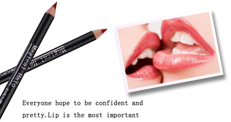 Magical Halo 12pcs/set Pro Waterproof Bright Pencil Lip Liner Pencil Makeup Cosmetic For Lips Long Lasting Lipliner Pen Lipliner 12