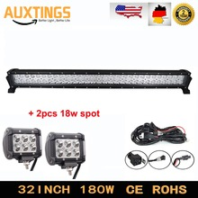 "32inch 180W Combo Led Light Bar +2 X 18W 4"" CREEs Work Lamp Offroad Driving Light 4x4 UTV 4WD with Wiring Harness 12V Truck Car"